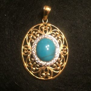 Turquoise/white topaz pendant gold over ss